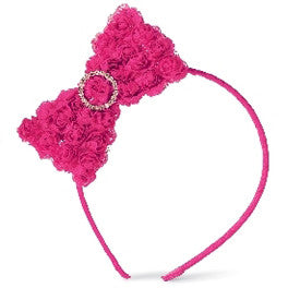 Bright Pink Chiffon Rosette Bow Toddler and Kids Headband