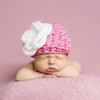 Handmade Chunky Pink Hat with White Flower