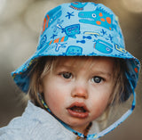 Monster Fish Blue Boys Bucket Sun Hat - Baby and Toddler Boy Sun Hat