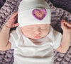 Double Heart Pink and Purple Newborn Girl Hospital Hat