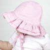 PERSONALIZED Embroidered Double Ruffle Brim Pink Baby Sun Hat - UPF 50 Sun Protection