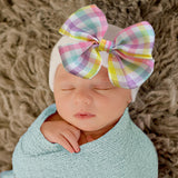 Easter Spring Plaid Bow Newborn Girl Hat -Spring Plaid Bow Ribbon on White Hat