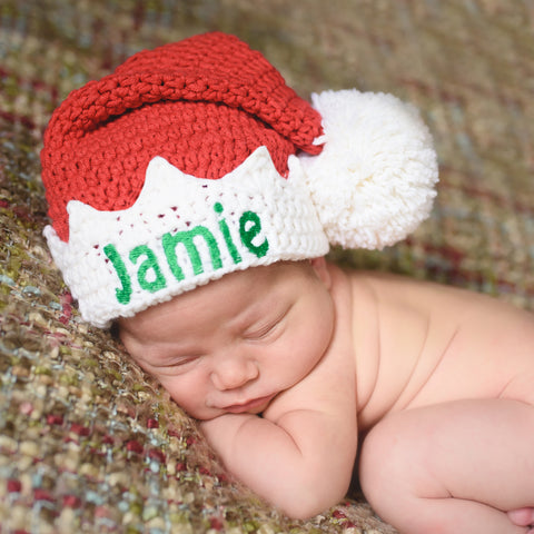 Baby Elf Red or Green Hat Christmas Hat - Personalization Optional ... cbd7ee24e