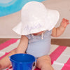 PERSONALIZED White Wide Brim Sun Protective Baby and Toddler Sun Hat for Girls - Personalization Option