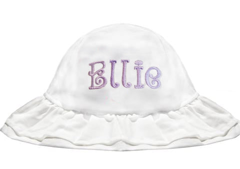 White Double Ruffle Brim Baby Girl Sun Hat -PERSONALIZED Option
