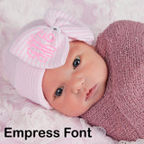 PERSONALIZED Pink and White Striped Nursery Big Bow with Gem Newborn Girl Hospital Hat