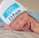 HELLO my name is Baby Hat - Lollipop Font Personalized Hospital Newborn Beanie Boys