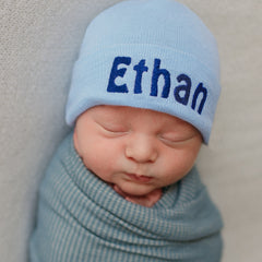 Solid Baby Blue Personalized Newborn BOY hospital baby hat with Blue Lettering icon