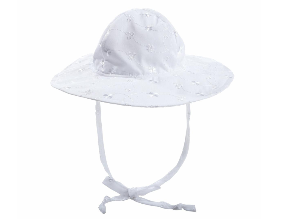 White Eyelet Wide Brim Baby Sun Hat - UPF 50 Sun Protection