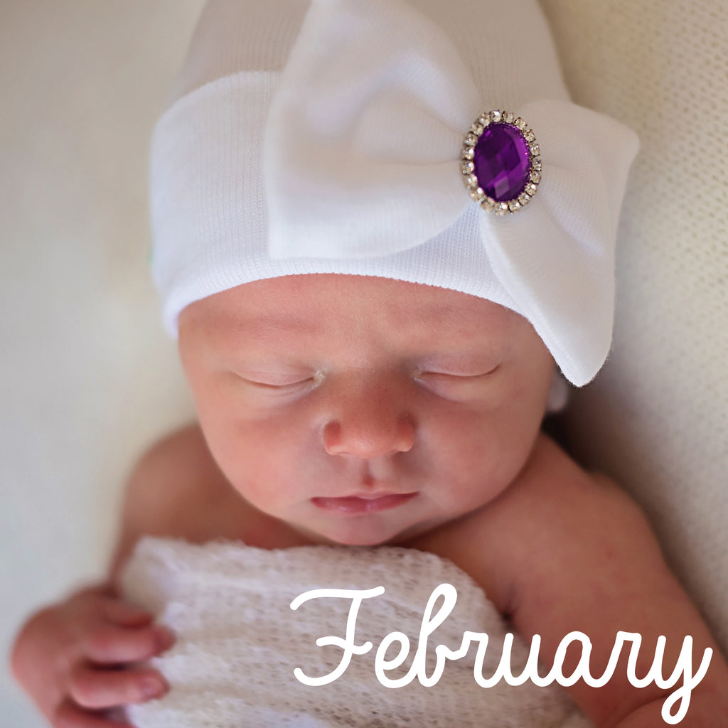 Birthstone Baby Big White Big Bow Girl Newborn Hospital Hat