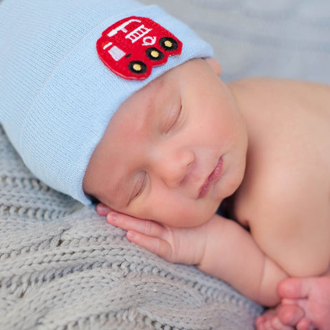 Firetruck Patch Newborn Boy Hospital Hat - Blue or White Hat