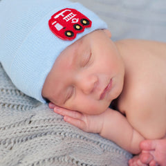 Firetruck Patch Newborn Boy Hospital Hat - Blue or White Hat icon