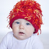 Zooni Fire Cracker Red Flop Beanie Baby Hat - FULLY FLEECE LINED