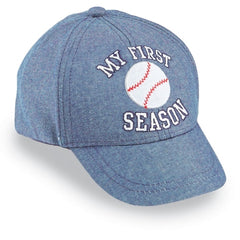 My First Season Baby Baseball Cap - Blue Chambray with Baseball and My First Season icon