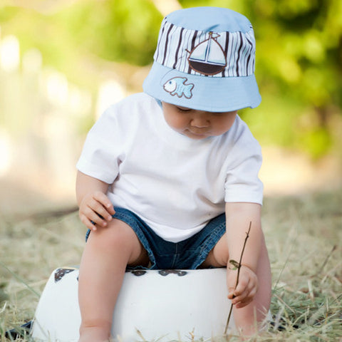 Baby Blue Sail Boat Baby Sun Hat