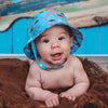 Red Fish, Blue Fish Boys Sun Hat - Blue with Red and Blue Fish and Shark Print- UPF 50