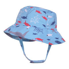 Red Fish, Blue Fish Boys Sun Hat - Blue with Red and Blue Fish and Shark Print- UPF 50 Sun Protection icon