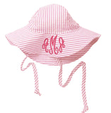 Pink and White Wide Brim Seersucker Baby Sun Hat -PERSONALIZED Option