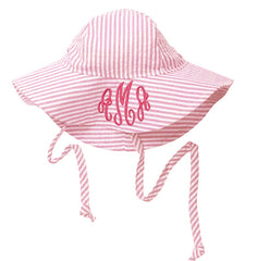 Pink and White Wide Brim Seersucker Baby Sun Hat -PERSONALIZED Option icon