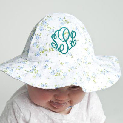 Dainty Blue and Green Floral Printed Sun Hat - White Sun Hat - Option for Monogramming
