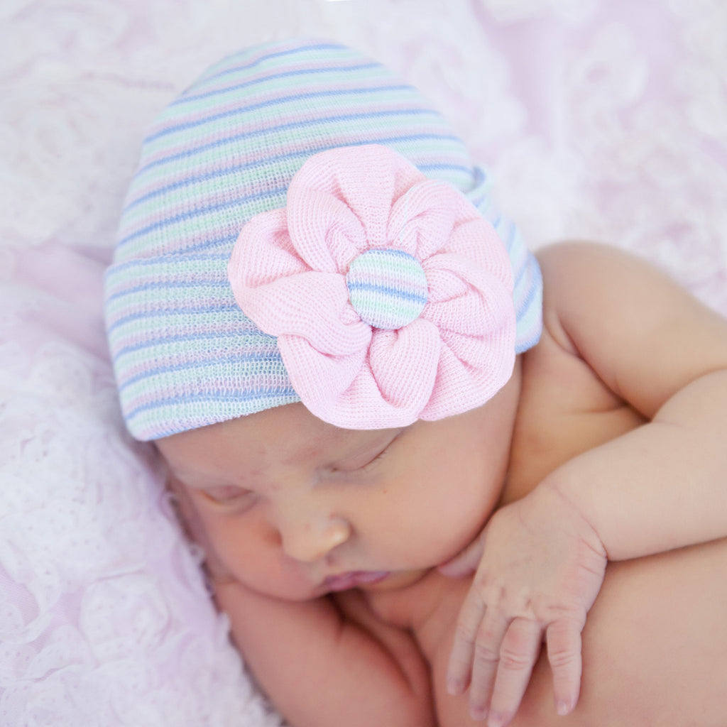 Spring Striped Pink Flower Newborn Girl Nursery Beanie