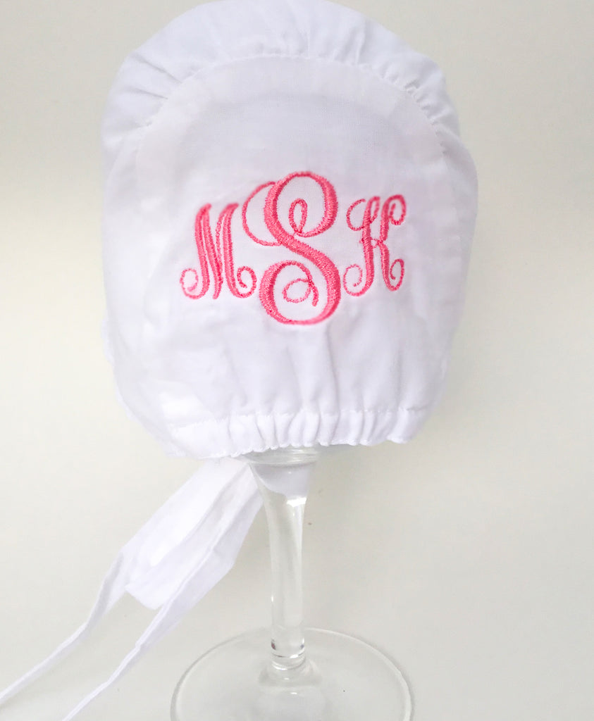 White Eyelet Baby Girl's Bonnet-MONOGRAM OPTIONAL