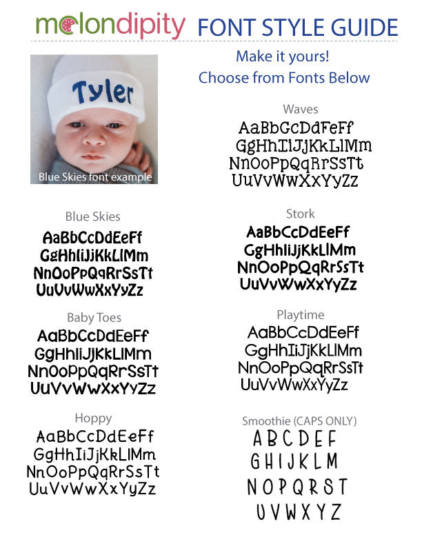 Wide Blue and White Striped Personalized Newborn Boy Hat
