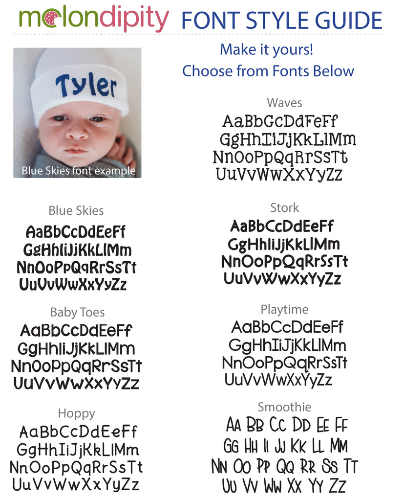 Baby Blue and White Striped Personalized Newborn BOY hospital baby hat