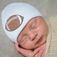 White Football Newborn Boy Hospital Hat icon