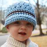 Baby Blue and Brown Chunky Yarn Visor Beanie for Baby and Toddler Boys