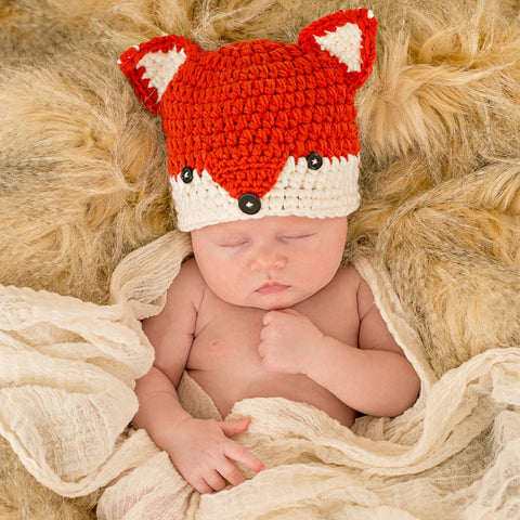 Rust Baby Fox Hat for Newborn and Baby Boys
