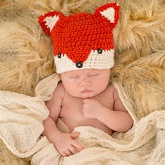 Rust Baby Fox Hat for Newborn and Baby Boys icon