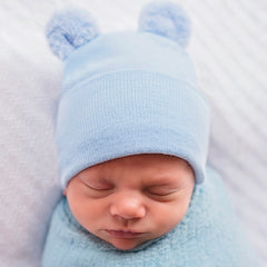 Blue Newborn Boys Fuzzy Bear Ear Newborn Boy Hospital Hat for Newborns - Blue Nursery Beanie icon
