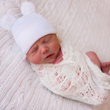 White Gender Neutral Fuzzy Bear Ear Newborn Boy or Girl Hospital Hat for Newborns