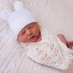White Gender Neutral Fuzzy Bear Ear Newborn Boy or Girl Hospital Hat for Newborns icon