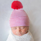 Snowy Santa Red & White Striped Hospital Hat with White (or Red) Fuzzy Pom Pom