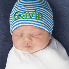 Blue and White Personalized Newborn BOY Hat