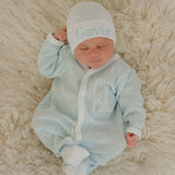 Monogrammed Newborn Boys Baby Blue Skies Perfect Take Me Home Set - Hat and Footie Set