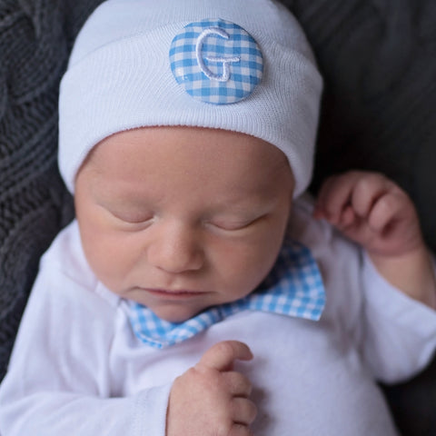 Blue and White Gingham Bow Tie Onsie and Initial Covered Button- Newborn Boy Welcome Home Outfit