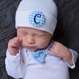 ROYAL BLUE LETTER Blue and White Gingham Bow Tie NEWBORN GOWN and Initial Covered Button