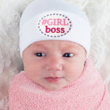 Girl Boss Patch Newborn Girl Hospital Hat - White Newborn Hospital Hat