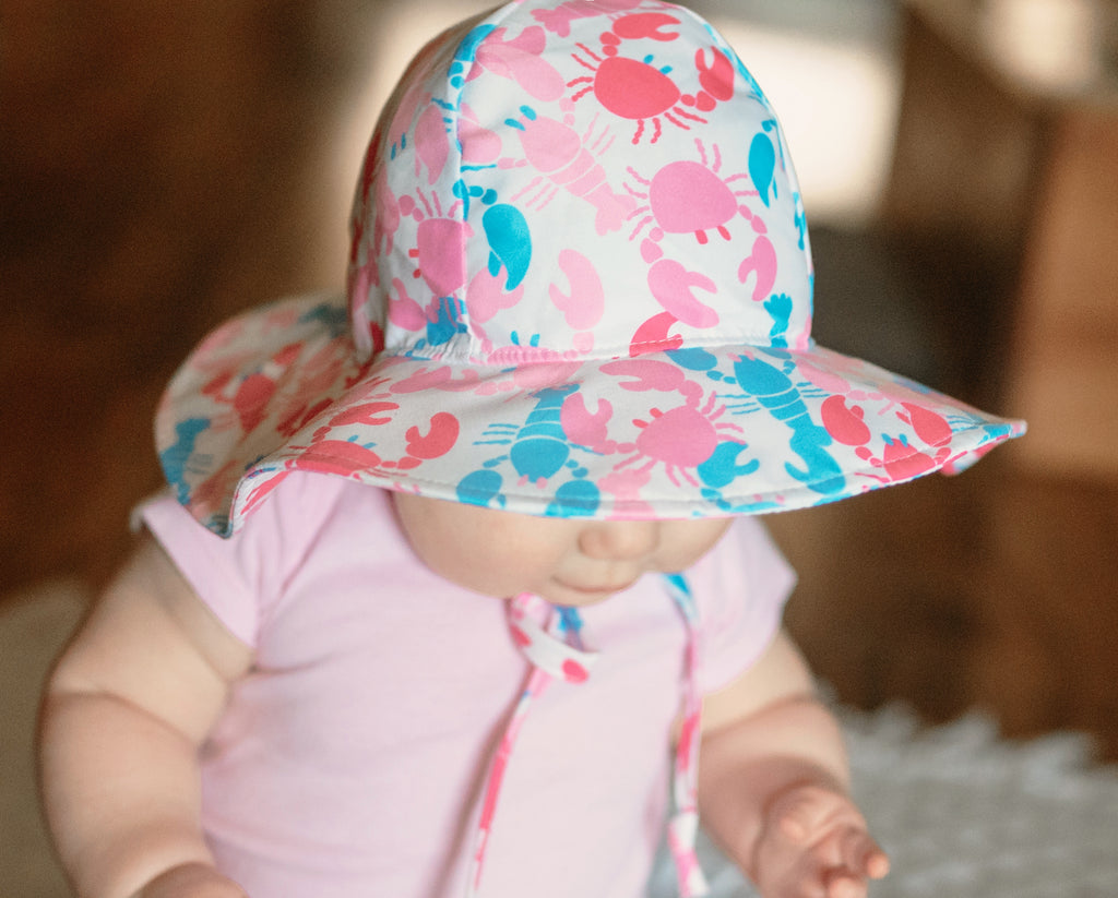 Nantucket Pinks Crabs and Lobsters Baby Girl Sun Hat- Baby Sun Hat - Toddler Sun Hat - Baby Girl Sun Hat