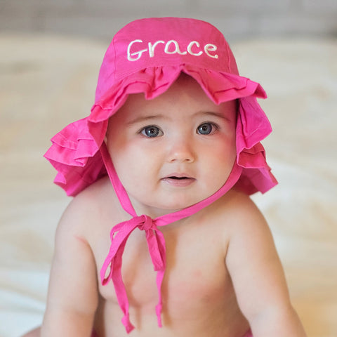 Hot Pink PERSONALIZED Embroidered Double Ruffle Brim Baby Sun Hat - UPF 50 Sun Protection