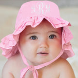 Light Pink PERSONALIZED Embroidered DOUBLE  Ruffle Brim Baby Sun Hat - UPF 50 Sun Protection