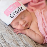 HELLO my name is Baby Hat - Lollipop Font Personalized Hospital Newborn Beanie Girls