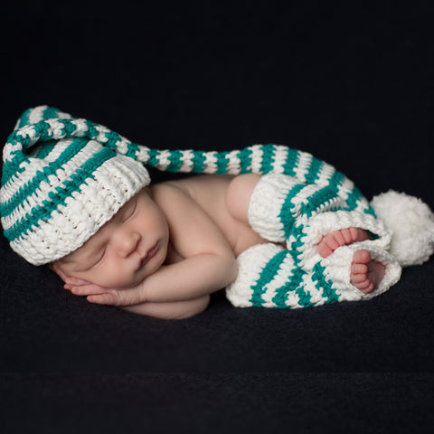 Green and White Christmas Boy Hat and Leg Warmers Set - Newborn
