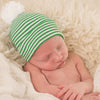 Green and White Striped Nursery Beanie with White Pom Pom Newborn Boy Hospital Hat