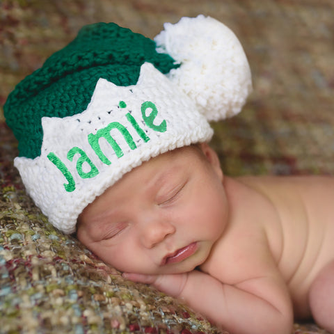 baby elf red or green hat christmas hat personalization optional