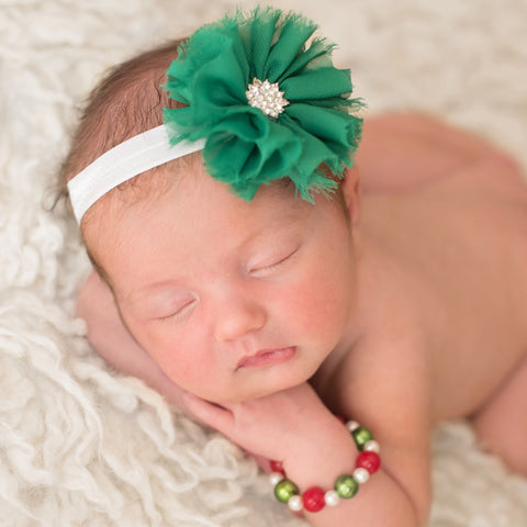 Green Fern Christmas Frayed Flower Newborn Headband and Bracelet SET