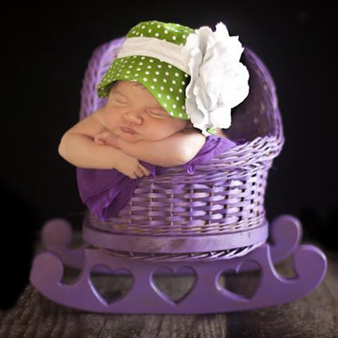 Polka Dot Green Garden Party Baby Sun Hat